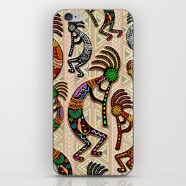 Kokopelli Rainbow Colors on Tribal Pattern  iPhone Skin