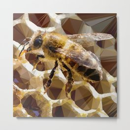 Honey Honeycomb Honeybee Low Poly Geometric Triangles Metal Print