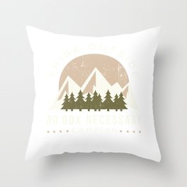 Think Outside No Box Camping Scout Tenting Trekking Throw Pillow