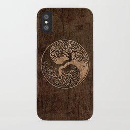 Rough Wood Grain Effect Tree of Life Yin Yang iPhone Case