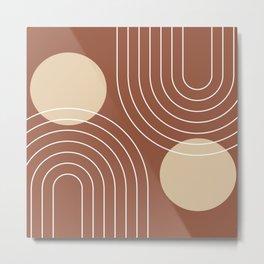 Mid Century Modern Geometric 26 (Terracotta and beige) Metal Print