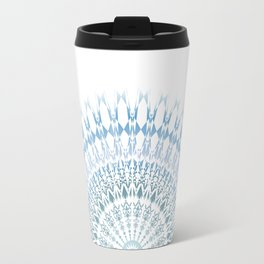 Grayish Blue White Mandala Travel Mug