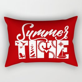 Summer TIME Nautical Solid Red, Seagull, Lounge Chair, Lighthouse, Anchor, Rope, Compass, Sail Boat Rectangular Pillow