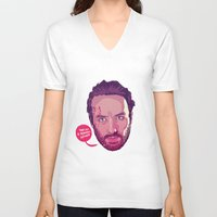 rick grimes V-neck T-shirts featuring The Walking Dead - Rick Grimes by Mike Wrobel