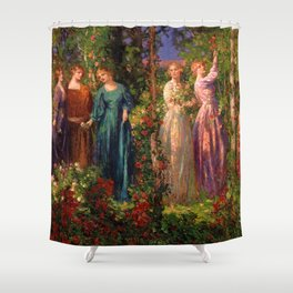 Rose Garden Tapestry Gather Ye Rosebuds While Ye May by Thomas Edwin Mostyn Shower Curtain