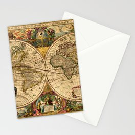 1663 Orbis Geographica Old World Map by Henri Hondius Stationery Cards