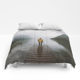 Mountain Lake Vibes - Landscape Photography Comforters