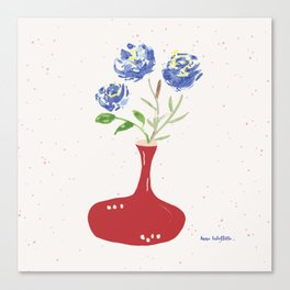 Blue roses in wine decanter Canvas Print