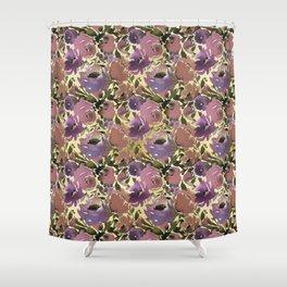 Botanical lavender purple ivory brown floral Shower Curtain