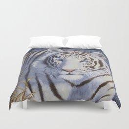 White Tiger with Blue Eyes Duvet Cover