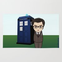 dr who Area & Throw Rugs featuring Kokeshi Dr. Who by Pendientera