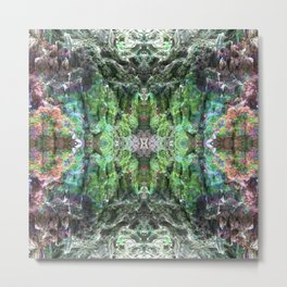 """Tie-dyed space Alien"" Reflection of moss covered stump Metal Print"