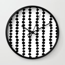 Linocut black and white dots pattern minimalist home decor nursery trendy dotted pattern Wall Clock