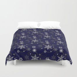 Snowflakes (white & dark blue) Duvet Cover