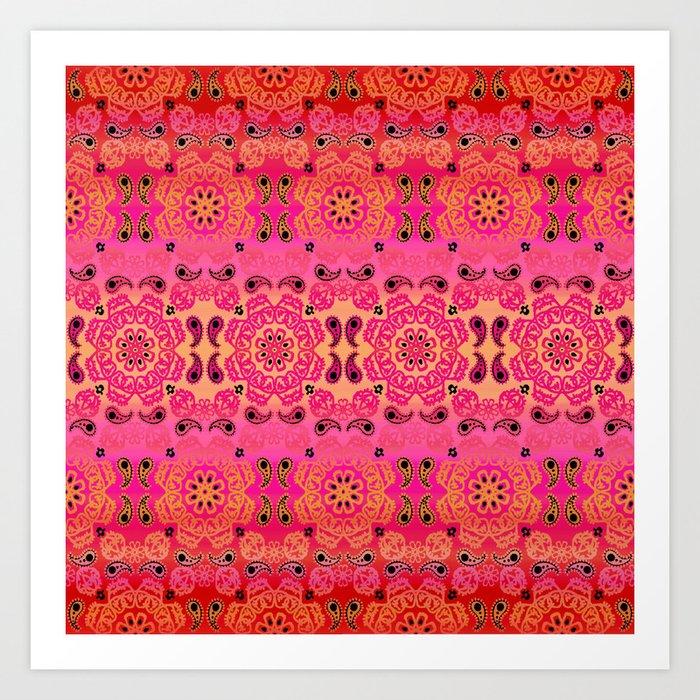 Pink Haze Bandana Ombre' Stripe Art Print