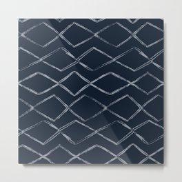 Dark Navy Blue Bohemian Tribal Mud Cloth Chevron Horizontal Stripe Diamond Pattern Metal Print
