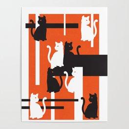 Cat in De Stijl - Halloween Edition Poster