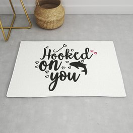 Hooked On You Couples Fishing Hobby Rug