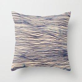 Writer's Block - wavy indigo / navy lines Throw Pillow