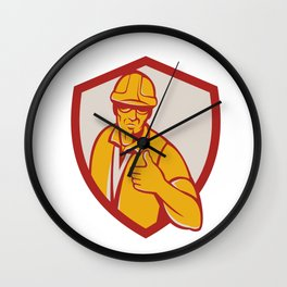 Construction Worker Thumbs Up Shield Retro Wall Clock