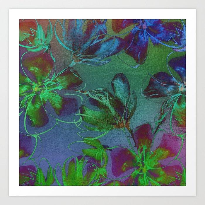 Jewel Toned Flowers Art Print