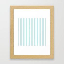 Duck Egg Pale Aqua Blue and White Wide Vertical Beach Hut Stripe Framed Art Print