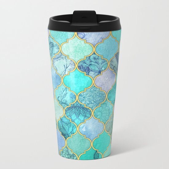 Cool Jade & Icy Mint Decorative Moroccan Tile Pattern Metal Travel Mug