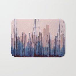 City Harbor Skyline Abstract Bath Mat