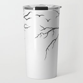dried tree branches with birds and leaves on a light background Travel Mug