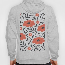 Red and Black Flowers Hoody