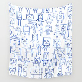Robot Crowd Wall Tapestry