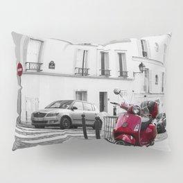Red Vespa in Paris Pillow Sham