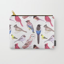 Endangered wild birds species watercolor painting- Cardinals, titmouse ,bushtit, cedar waxwing ,barn Carry-All Pouch