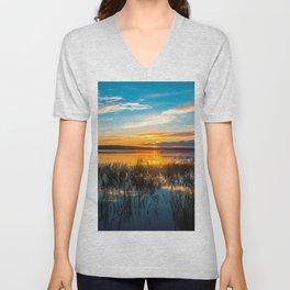 Sunset on the river Unisex V-Neck