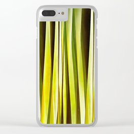 Yellow Ochre and Brown Stripy Lines Pattern Clear iPhone Case