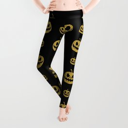 gold glitter pumpkin pattern Leggings