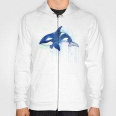 Killer Whale Orca Watercolor Painting Animal Art Hoody