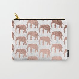 Modern faux rose gold elephants white marble Carry-All Pouch