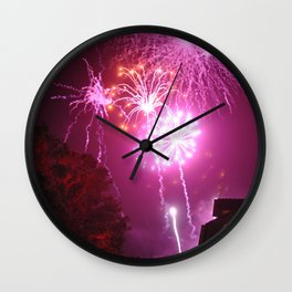 Bright Red and Pink Fireworks Display Wall Clock