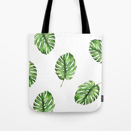Monstera green leaves Tote Bag