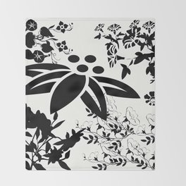 Damask Black and White Toile Floral Graphic Throw Blanket