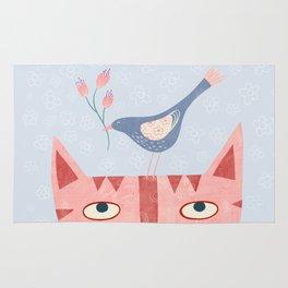 Cat, bird and flower Rug