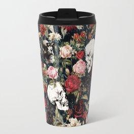 Vintage Floral With Skulls Travel Mug