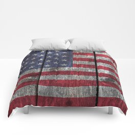 """Old Glory""  ""The Star Spangled Banner"" on wood Comforters"