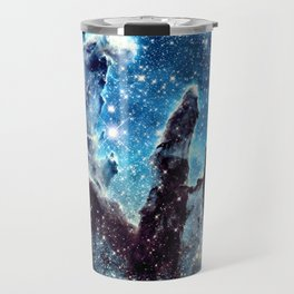 Pillars of Creation Nebula: Ocean Blue Galaxy Travel Mug