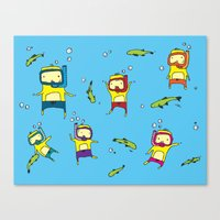 scuba Canvas Prints featuring Scuba Scuba by Steph Chen