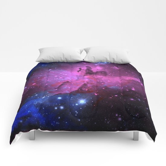 Pink N Blue Floral Space Explosion Comforters