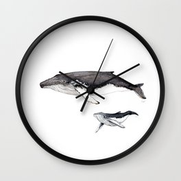 North Atlantic Humpback whale with calf Wall Clock