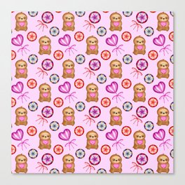 Funny happy little pink baby sloths, pink hearts. Vintage retro lollipops. Cute girly pink pattern Canvas Print
