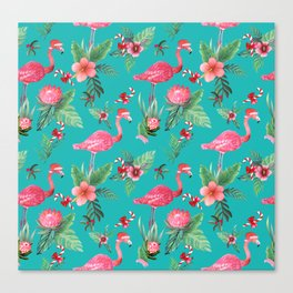Santa Flamingo Christmas, Holiday Tropical Watercolor Canvas Print